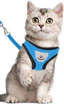 Kattentuigje - Kattenharnas - Kattentuig Met Looplijn - Hondentuigje - Hondenharnas - Blauw - Maat M