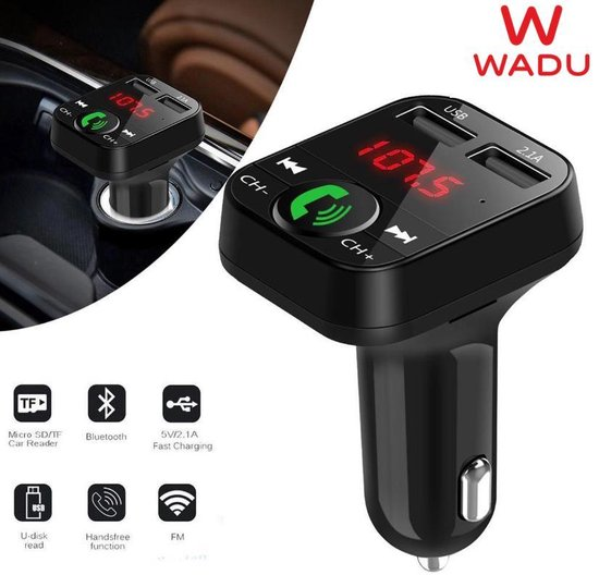 Afbeelding van Bluetooth FM Transmitter voor in de Auto met USB - Bluetooth 3.0 Radio - BT Car Player - BT handsfree carkit - Bluetooth receiver auto