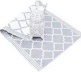 Plastic vloerkleed Marokkaanse tegel grijs met rand