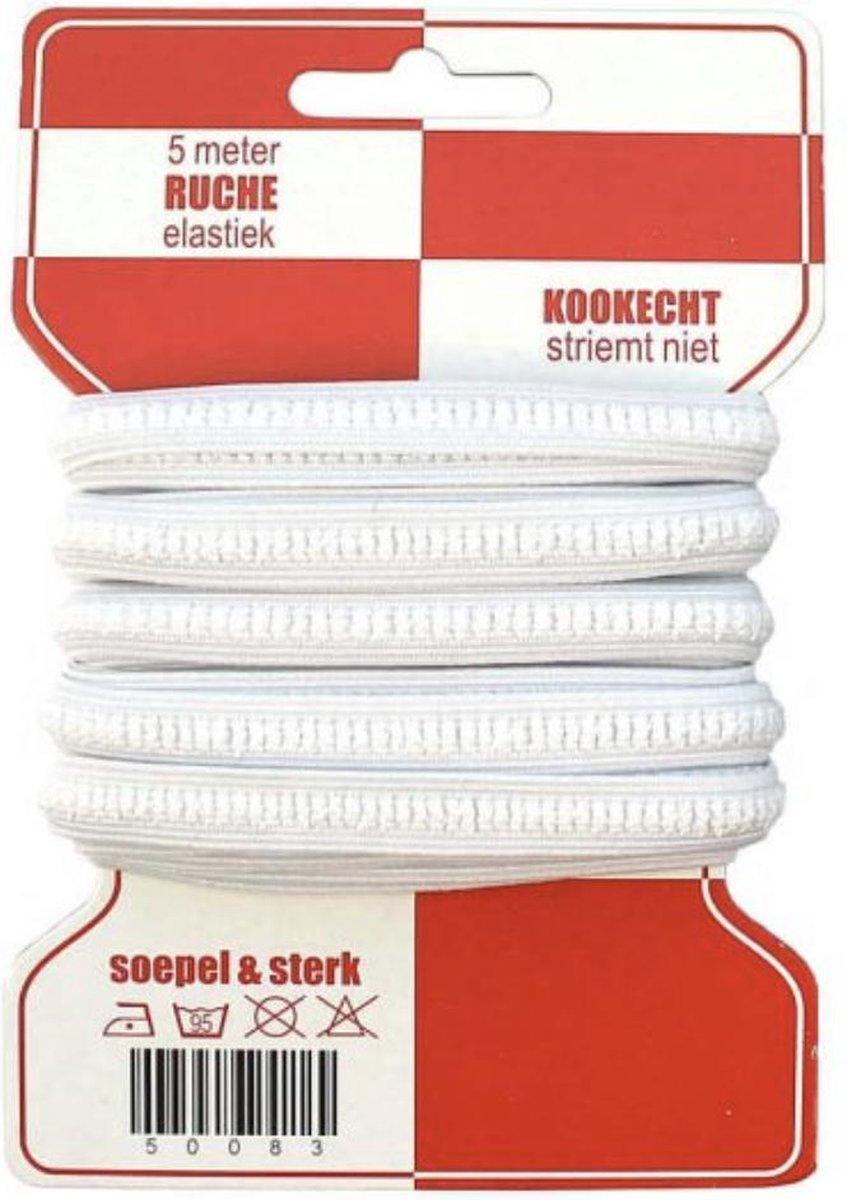 5 meter rode kaart stevige directoire  ruche elastiek, 10mm breed, kookvast