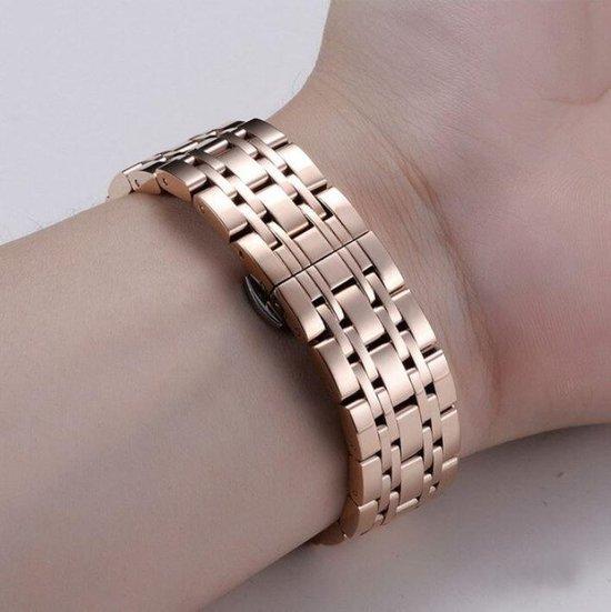 Samsung Galaxy Watch Active Bandje - Smartwatch bandje - fijn bandje - 20mm metalen bandje rosegoud