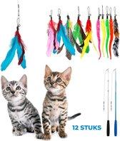 2 Kattenhengels met 10 Speeltjes – Bewegende Kattenspeeltjes met Veren en Belletjes – Interactieve Kattenspeelgoed Voor Kittens – Cat Toys