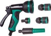 VONROC broespistool & spuitstuk set – 8 sproeipatronen en regelbare watertoevoer – Incl. koppelingen