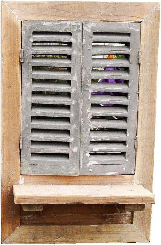 Wandspiegel louvre vensterbank bruin spiegel met luiken huis en tuin