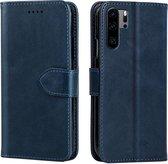 Voor Huawei P30 Pro kalfsleer textuur horizontale flip lederen tas met houder en kaartsleuven (blauw)