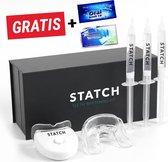 Tandenbleekset - inclusief Teeth Whitening Strips + Wipes + 3 Gelspuiten - Zonder Peroxide 100% Natuurlijk - Dierproefvrij - Wittere Tanden - 3D LED - Teeth Whitening - Premium Edition Statch