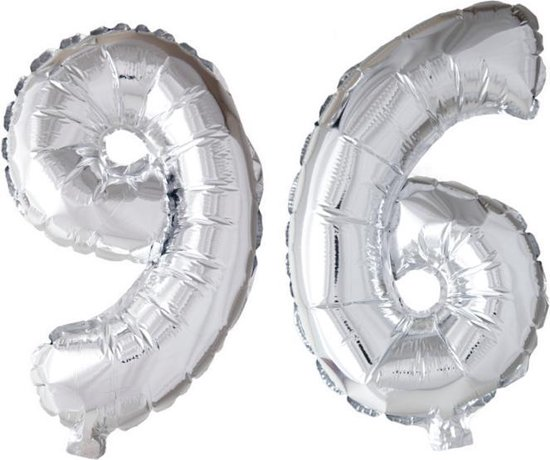 Folieballon 96 jaar zilver 86cm
