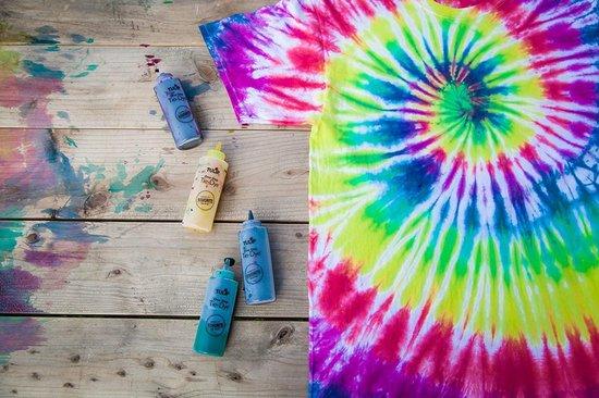 Nince TIE-DYE kit van hoge kwaliteit Kit 2- Complete kit van 5 kleuren textiel - Tie Dye set - Tie Dye verf premium kwaliteit