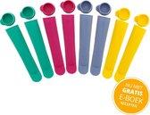 Siliconen IJslolly Vormen set 8 stuks - Met GRATIS Recepten E-boek - Ijsvormpjes - Luxe IJsvormpjes - Waterijsjes Vormen - IJsjes Maken - Siliconen Mallen voor IJslolly - BPA Vrij - Calippo
