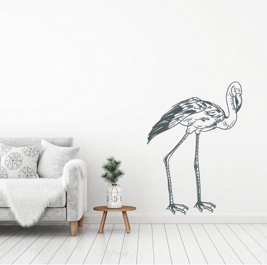 Muursticker Flamingo -  Donkergrijs -  85 x 120 cm  - Muursticker4Sale