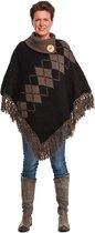 Poncho - omslagdoek - handgemaakt – hip - zwart - bruin - gerecycled - wol - katoen - duurzame kleding - maat XL