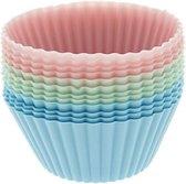 La Cucina bakvormjes - cupcake vormpjes - gratis verzending - cakevormpjes - 12 stuks - silicone - pastel - roze - blauw - groen - muffin - bak - vorm - taart- gebak - koekjes - dessert - toetjes - decoratie - cups -  herbruikbaar - duurzaam