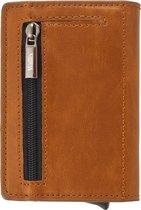 Wallix® Luxe Pasjeshouder - Uitschuifbaar - Unisex Portemonnee - 100% RFID Veilig - Leren Creditcardhouder - Bruin