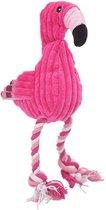 Hondenspeelgoed - Flamingo -  knuffel - pluche - geluid - stevig - roze - hondenknuffel - 38 cm