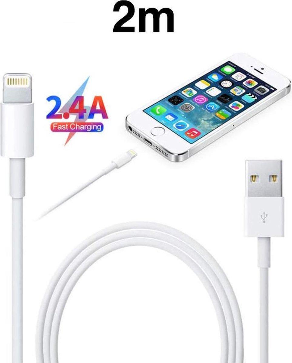 iPhone Kabel 2 Meter - USB naar Lightning Oplaadkabel - 2.4 Ampère high-speed opladen