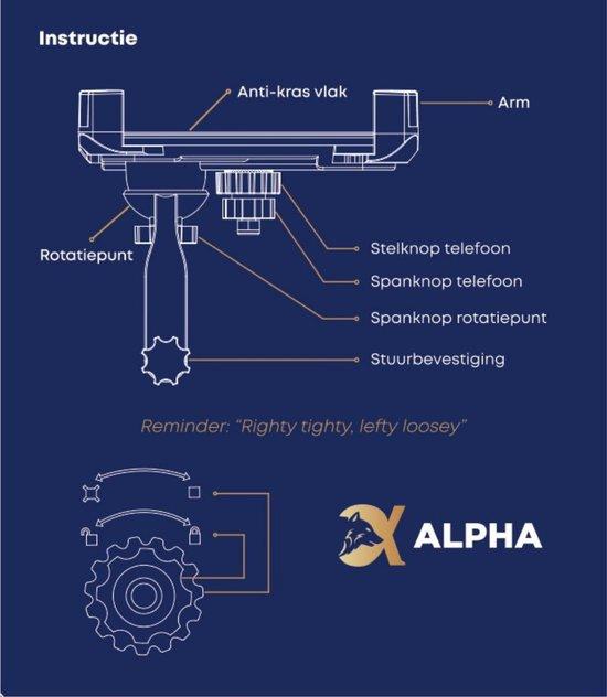 Alpha Telefoonhouder Fiets met Lichtjes - Volledig Roteerbaar - Zwart