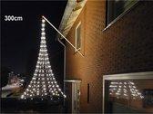 Vlaggenmast kerstverlichting gevel, hangende 3D kerstboom 3 meter -XL 300 cm - 320 warmwitte LED lampjes, vlaggenmast verlichting buiten