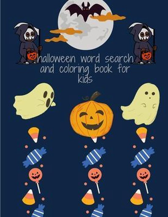 halloween word search and coloring book for kids: Halloween Activity Book For Kids Ages 8-12
