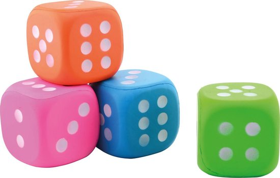 Afbeelding van het spel Dobbelsteen Foam 4 stuks 12 cm