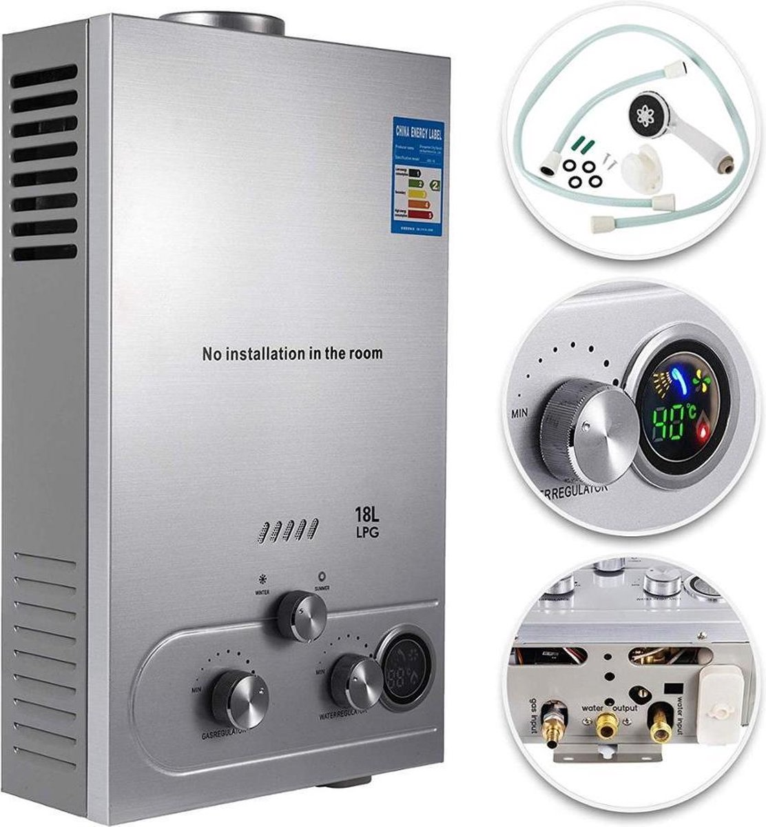 Dexters  Propaan - Boiler -  LPG Geiser 16 Liter / minuut Boiler - Ideaal Voor Camper  - Caravan - B