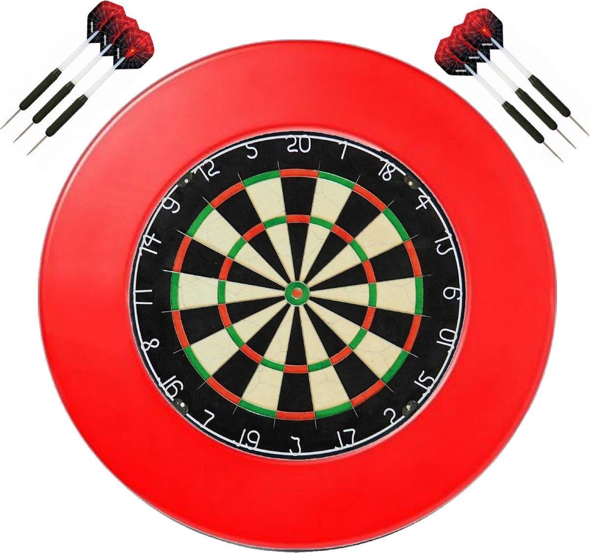A-merk Dragon darts - dartbord - (BEST getest) + surround ring rood + 2 sets Dragon Spider - dartpijlen