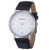 Fako® - Horloge - Geneva - Classic - Zilverkleurig - Zwart