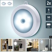 BECIO 2x Automatische LED Verlichting met Bewegingssensor - Nachtlampje Op Batterij -  INCLUSIEF Bevestiging - Nachtlicht voor Binnen - in de Hal - Trap - In de Kast - Toilet - Babykamer - Kinderkamer - Slaapkamer - Woonkamer - Badkamer – Wit Licht