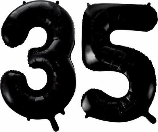 Folieballon 35 jaar zwart 86cm