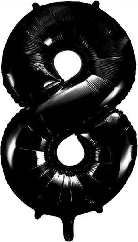 Folieballon 8 jaar zwart 86cm