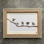 Schilderijtje 3D. 5 Vogels. 16 x 21 cm.
