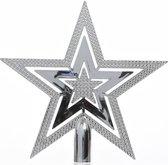 1x Zilveren glans open ster kerstboom piek kunststof  20 cm - Onbreekbare plastic pieken - Kerstboomversiering zilver