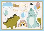 Uitnodigingen voor Kinderfeestje - Set van 10 x uitnodiging - Dinosaurus / Dino feest - invulbaar
