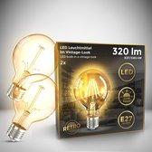 B.K.Licht - Led lamp - filament - retro lamp - 2200K - G80 Edison - lichtbron - E27 - 4W - 320lm - warm wit - gloeidraad-  set van 2