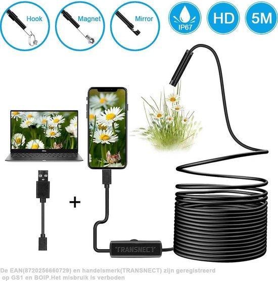 Endoscoop - Inspectiecamera USB - Inspectiegereedschap - 7mm kop - flexibele...