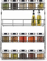 KitchenBrothers Ophangbaar Kruidenrek Voor 32 Kruidenpotjes - Spice Rack – Keuken Rek - Kruiden Organizer - Specerijen Opbergen - 4 Laags - 40 x 6.3 x 50 cm - RVS
