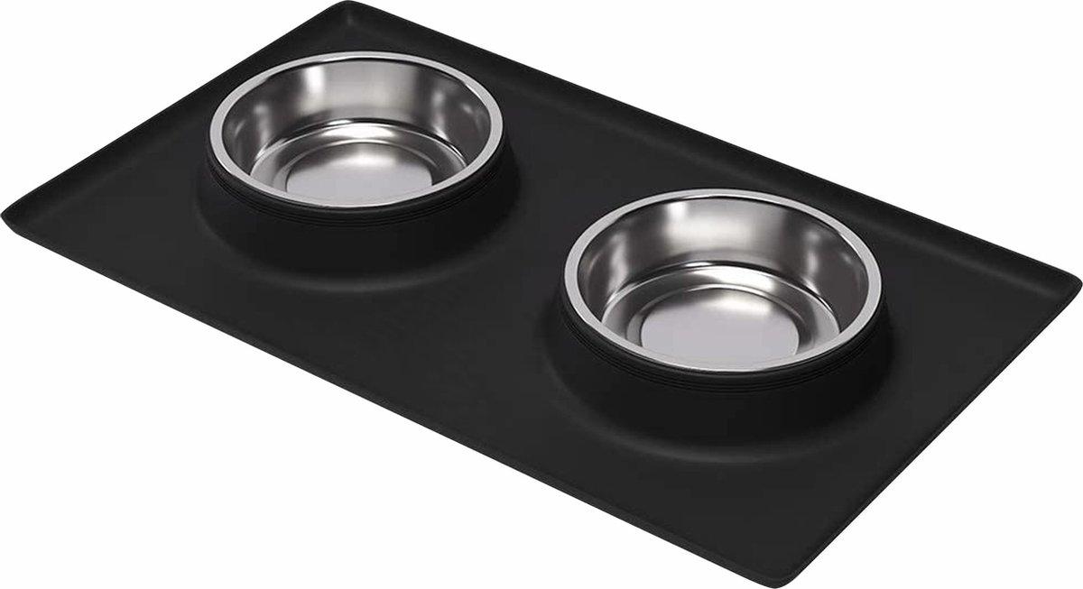 Loving Owner - Voerbak met anti-slip mat - Klein huisdier - Voerbak hond en kat - RVS - Zwart
