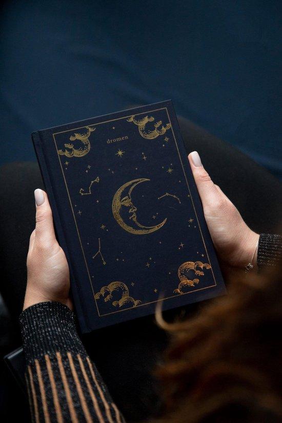 Dromendagboek | dromen dagboek | dagboek met maan | blauw en goud | maan en sterren