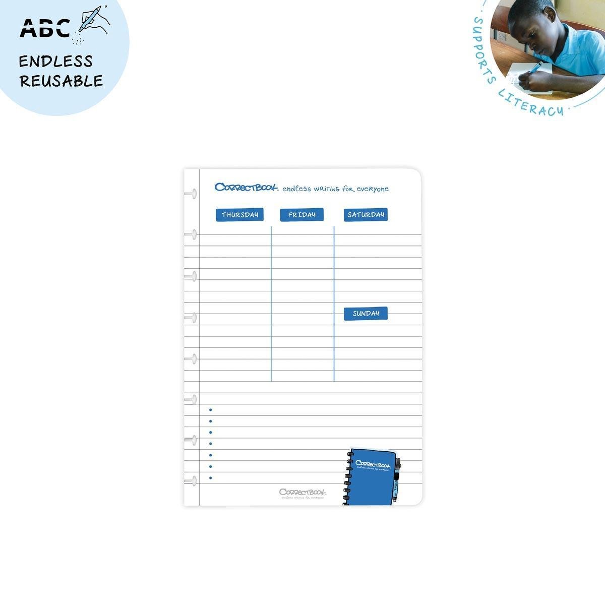 Correctbook A5 set met 5 weekplanner bladen, 10 pagina's (5 vel), uitwisbaar / herbruikbaar