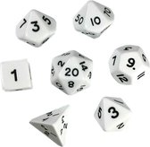 Polydice set - Polyhedral dobbelstenen set 8 delig | Set van 7 in velours bewaarzakje / bag / pouch| dungeons and dragons dnd dice | D&D  Pathfinder RPG |  Wit