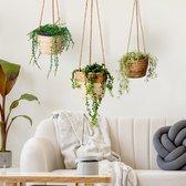 Plantenhanger 18x15cm Zwart/Naturel | Hangende mand | Handgemaakt | Planten-houder / Hang-plant | Planten Accessoires | Hangmand |