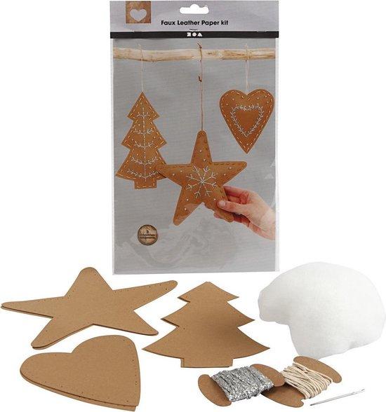 Faux Leather Kerstdecoraties. naturel. dikte 0.55 mm. 1 set