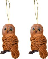 2x Kerstboomhangers bruine uilen 8 cm kerstversiering - Bruine kerstversiering/boomversiering - Kersthangers/kerstornamenten