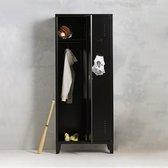 Lockerkast metaal I Locker kledingkast I 1 legplank & hangruimte per deur I Zwart I Vintage, retro, industrieel I VLS-202 I Steelux
