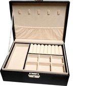 Sieraden Doos - Luxe sieraden Kistje - Juwelen Box met Houder - 2 lagen – Zwart
