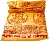 Meditatie omslagdoek met mantra Ganesh, natuurvezel, XL, 220 x 106 cm, geel/oranje, vegan