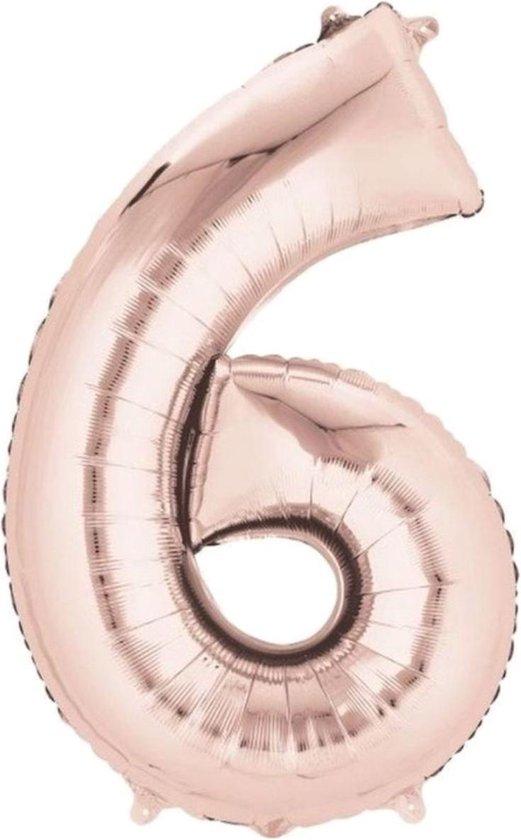 Ballon Cijfer 6 Jaar Rose Goud Verjaardag Versiering Rose Rose Gouden Helium Ballonnen Feest Versiering 86Cm Met Rietje