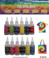 Tie Dye Kit Verf - 12 kleuren - Tie dye verf set - Complete Tie dye set - Batik Verf Paket - Wasmachinetextielverf wasmachine - Tie Dye Paint - Tie dye verf kit in flesjes - Ty Dye verf set Tie dye set Textielverf Tie Dye - Tie Die Kit - Tye Dye Kit