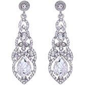 Victorious Dames Oorbellen – Zirkonia Kristal Druppel Oorhangers – Zilver – 6cm