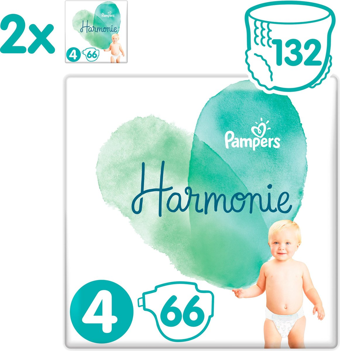 Pampers Harmonie / Pure Maat 4 (9-14kg) 132 Luiers