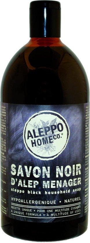 Huishoudzeep vloeibare zwarte Aleppo zeep - 1000ml - natuurlijk en biologisch afbreekbaar schoonmaakmiddel - vegan - dierproefvrij - zonder chemische toevoegingen